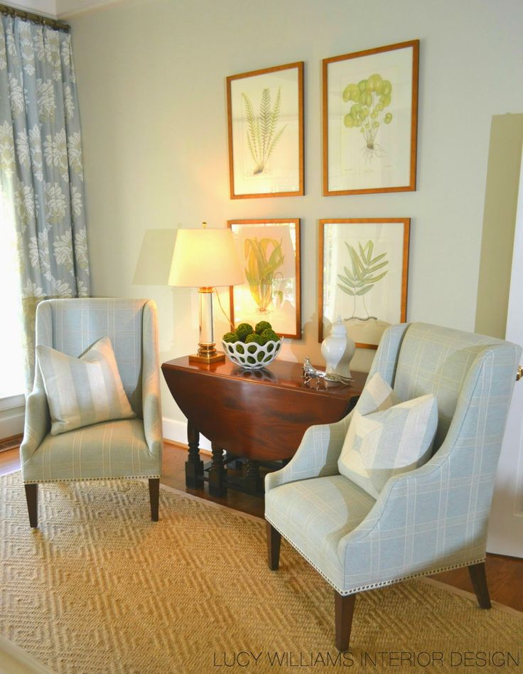 LUCY WILLIAMS INTERIOR DESIGN BLOG: BEFORE AND AFTER: PINEWOOD LIVING ROOM   Idea for framing my botanicals