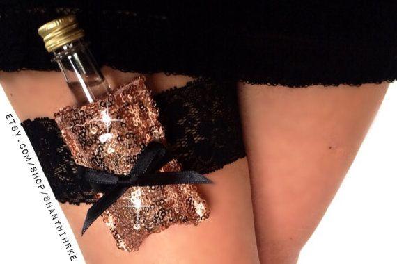 Flask Garter Sparkle Lace Shot Garter: Bachelorette, Bride, Birthday Stretch Lace Garter