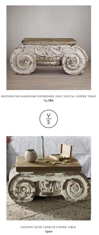Restoration Hardware Distressed Ionic Capital Coffee Table $1,780 Vs @countrydoor Cornice Coffee Table $300