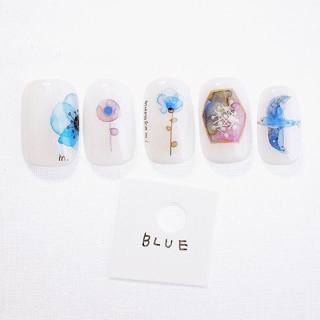ご予約は➡︎sawalon.com BLUE  #murakaminail #nail #ネイル #ショートネイル #チビ爪 #静岡 #葵区 #プライベートネイルサロン #シンプルネイル #静岡ネイル #OLYMPUS #葵区 #シンプルネイル #Blue #水彩画 #絵画