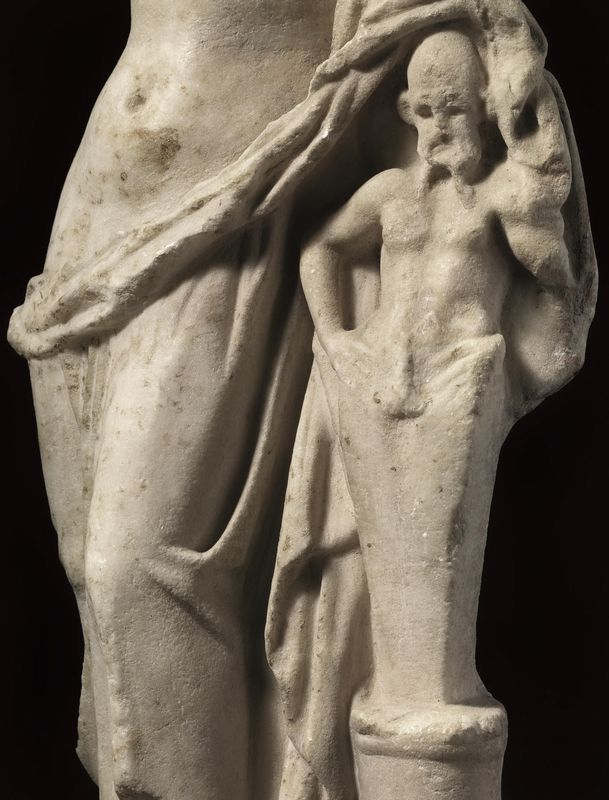 Greek art, Greek marble statue, Greek herm, Greek marble Aphrodite statue with Priapus, Hellenistic period, 1st century B.C.-1st century A.D. Greek art, Greek marble statue, Greek herm, Greek marble herm, Greek ithypallic herm, Greek Aphrodite statue with Priapus,  marble Aphrodite, Aphrodite is draped and leans on ithypallic herm on a column, 42 cm high. Private collection