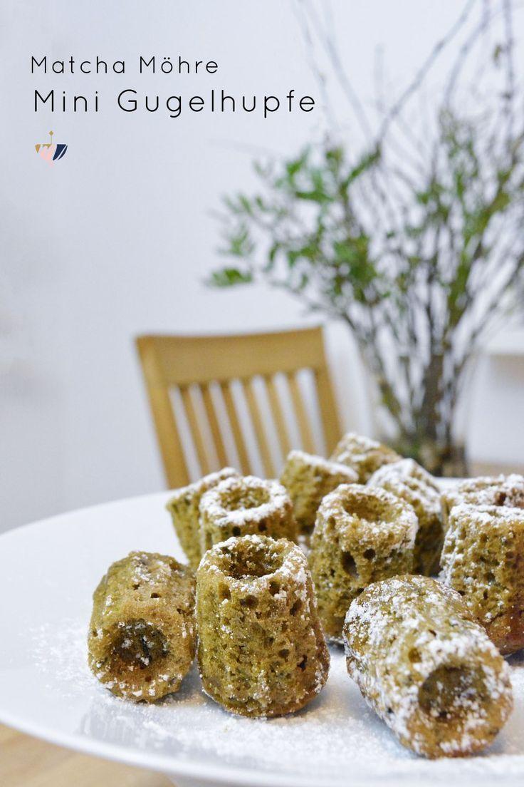 Matcha Möhre Mini Gugelhupfe: Fluffig, lecker und perfekte kleine Snacks für Kaffee oder Brunch. Machen sich auch prima als Partyfood oder Geschenkidee.