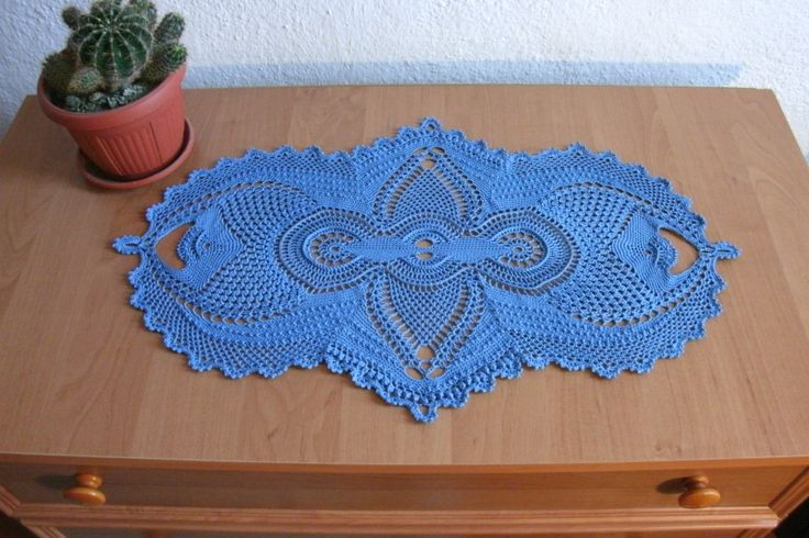 Oval crochet doily 22 13 inch Lace doily Blue doily Textured doily Blue crochet home decor Crochet table runner Crochet table topper Vintage - pinned by pin4etsy.com
