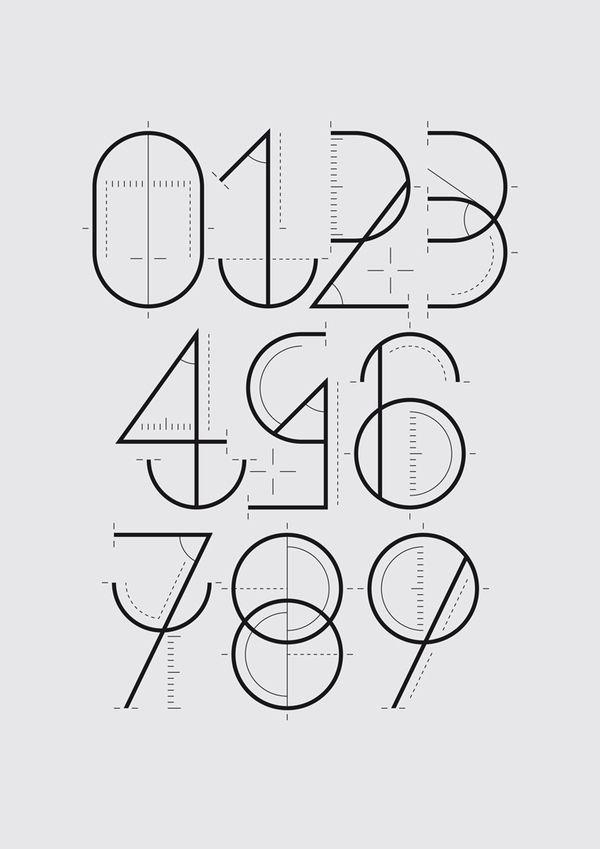 Numerografia / Wete  Le studio barcelonais Wete, spécialisé en créations typographiques, a conçu une suite de chiffres intitulée Numerografia pour le magazine Yorokobu.