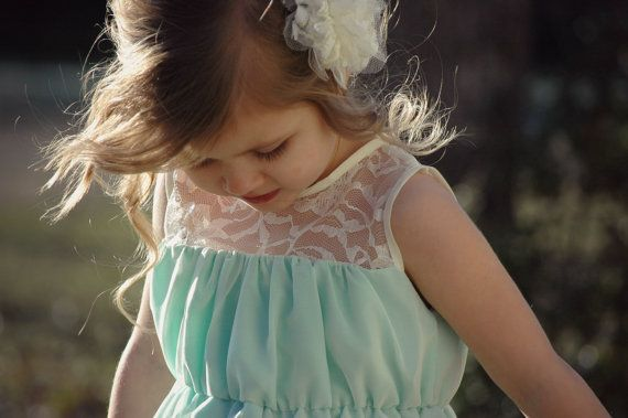 Easter dress - flower girl dress - lace dress in mint with ivory lace and chiffon - can be made in custom colors - coral, white, ivory, more...