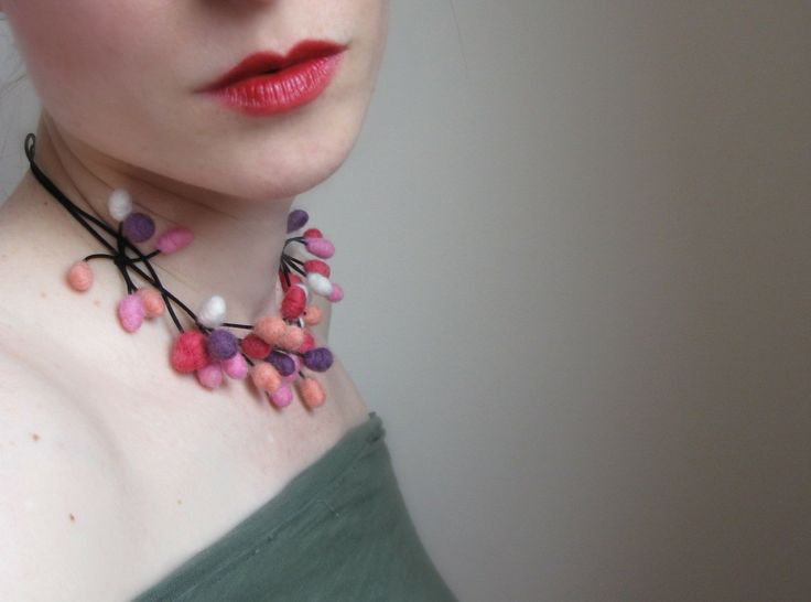 Very Berry Felt Necklace Hand Felted From Wool. $48.00, via Etsy.