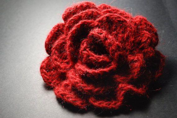 Fabric Brooch Red Rose Flower Brooch Crochet Brooch by aboutCRAFTS