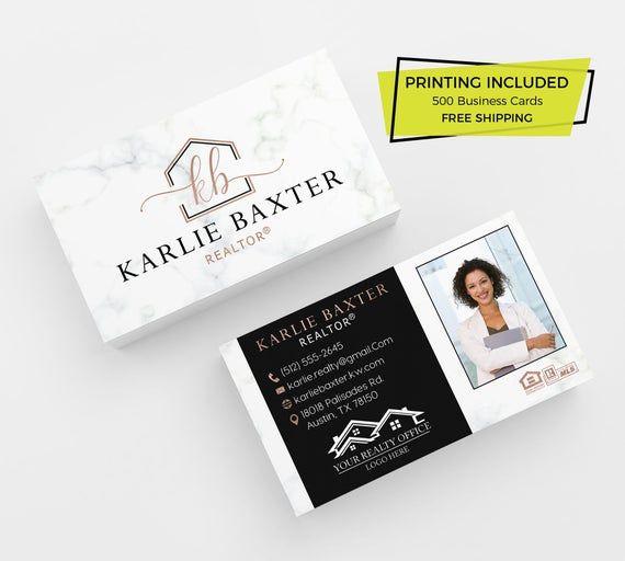 Rose Gold Black Real Estate Business Card 500 Printed Etsy In 2021 Real Estate Business Cards Realtor Business Cards Photo Business Cards