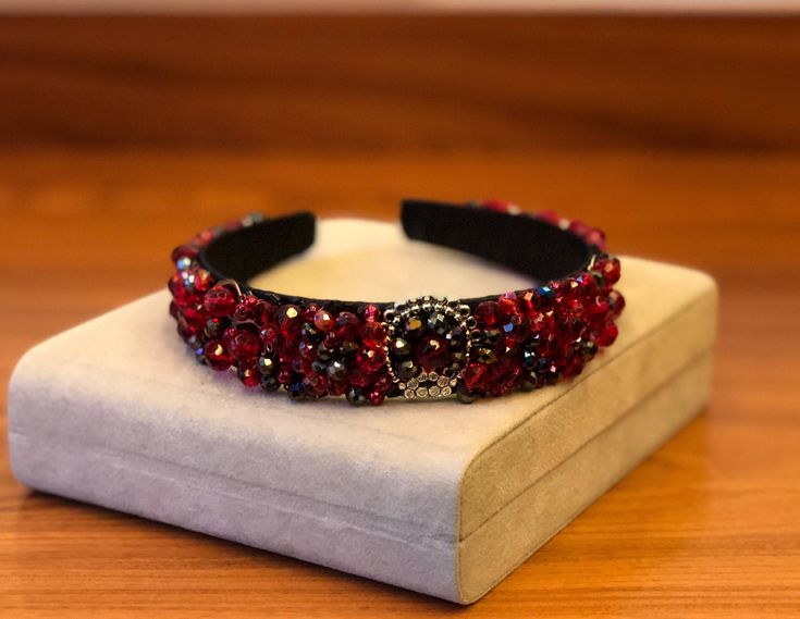 Excited to share the latest addition to my #etsy shop: Beaded black red headband Baroque beaded headband red tiara wedding hair accessories red bridal crown black tiara wedding headband adult