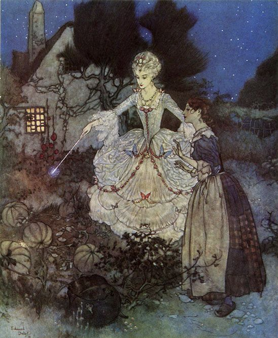 Cinderella and her Fairy Godmother - from Edmund Dulac's Picture Book for  The Red Cross