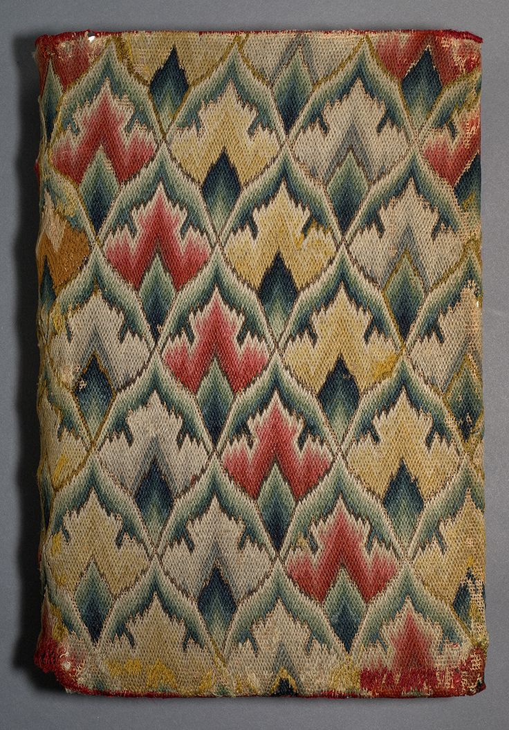 Prayer book cover, Winterthur, 1725-1780. Wool, linen,15.75 (h) x 10.5 (w) x 3.75 (d) inches, accession number 1961.0102.001 B
