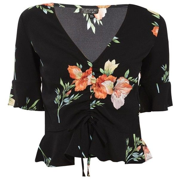 Topshop Floral Ruched Blouse ($39) ❤ liked on Polyvore featuring tops, blouses, topshop, black, flower print top, gathered top, floral print tops, rouched top and ruching tops