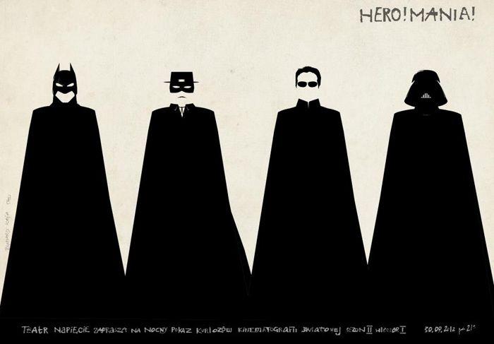 Hero! Mania! - film night with American superheros.   Batman, Zorro, Neo, Darth Vader   Original Polish poster   designer: Ryszard Kaja