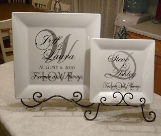 """Cher's Signs by Design: Personalized Wedding Plates- 14"""" or 10"""""""