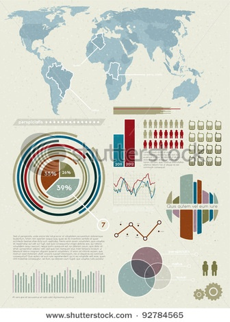 Stock Vector Illustration:  Set elements of infographics. World Map and Information Graphics