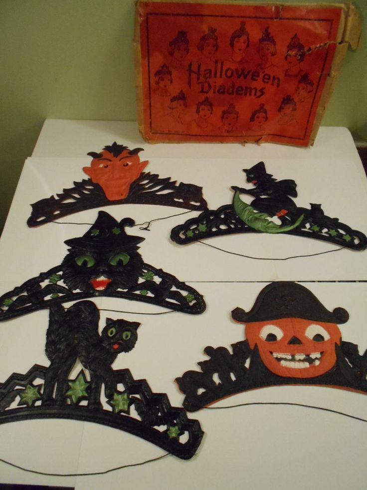 RARE NOS Vintage German Die Cut Diecut Halloween Diadems in Orig. Bag Skull Cat