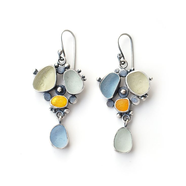 Mismatched grey, green and yellow sea glass earrings by Tania Covo