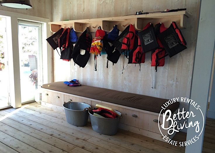 Cottage boathouse hooks and storage. To rent this cottage visit our website: http://www.betterlivingservices.ca