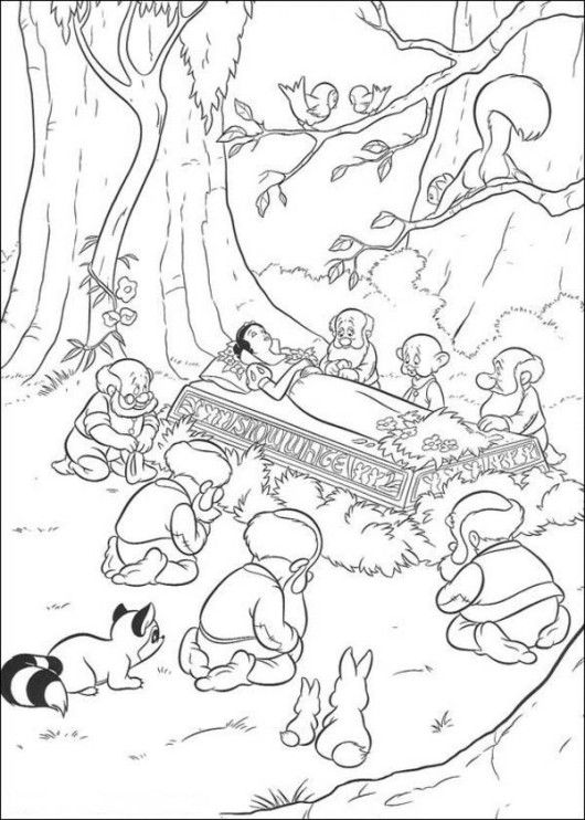 Princess Snow White Fall Asleep Disney Coloring Page - Cartoon Coloring Pages, Disney Cartoon On do Coloring Pages