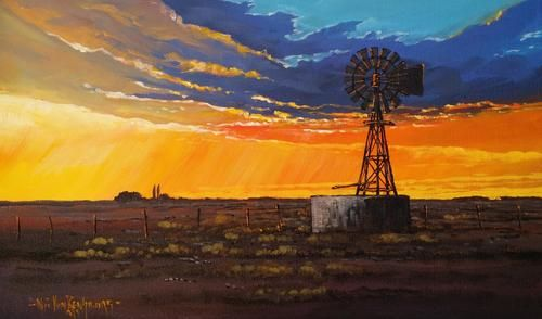 Karoo Sunset. Original painting by. Nic van Rensburg