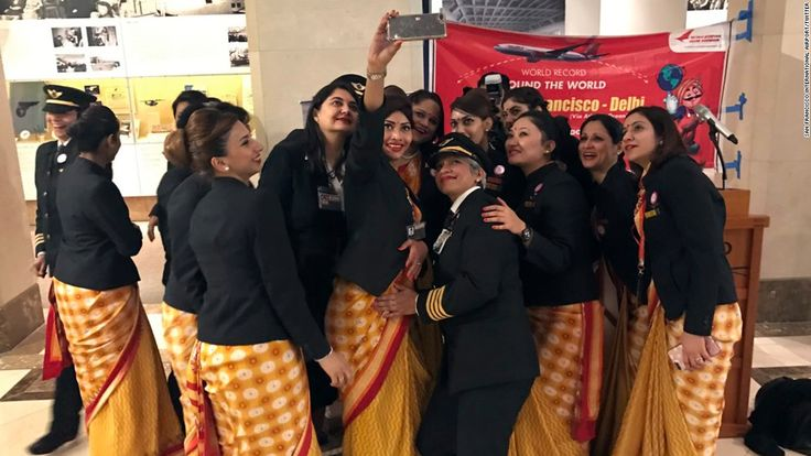 Air India says it has become the first airline to fly around the world with an all-female crew, just ahead of International Women's Day.