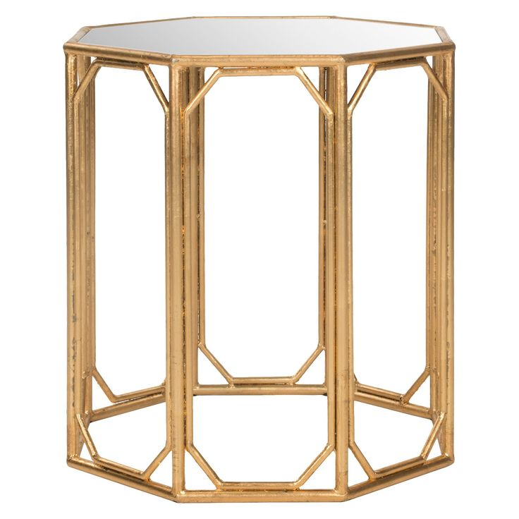 The Hild Accent Table brings eight times the elegance to any room with its modern octagonal shape. Crafted with a chic gold-leafed base with mirrored tabletop, its the ultimate example of updated Asian elegance.