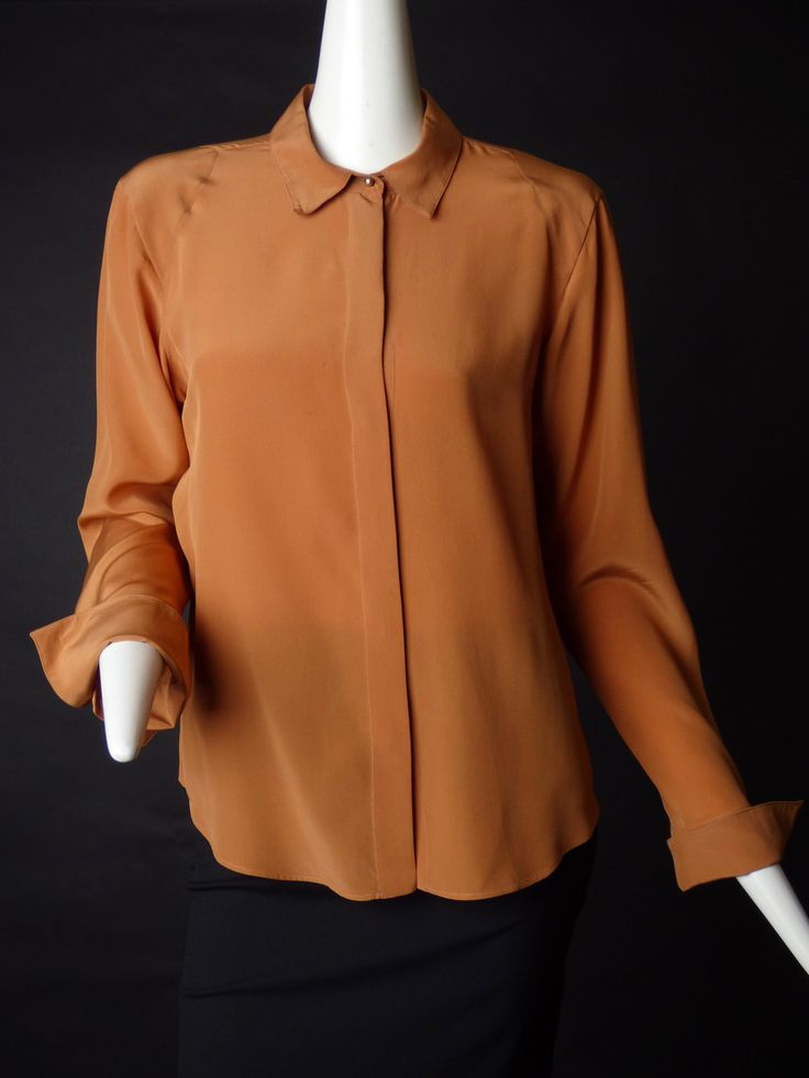 CHANEL-1990s Brown Silk Blouse, Size-12