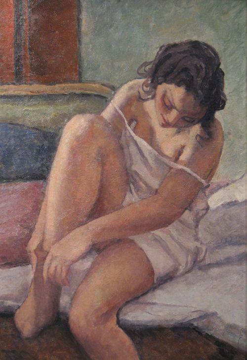'Femeie tragandu-si ciorapul (Woman Pulling her Hose) - Camil Ressu - 1940-1941