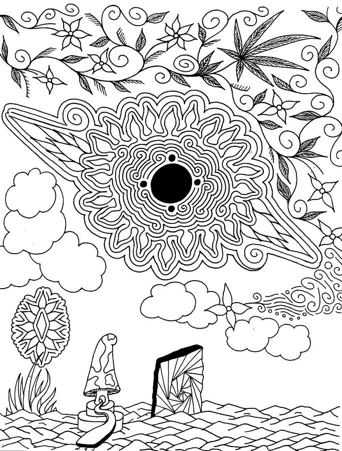 stoner trippy weed coloring pages - photo#24