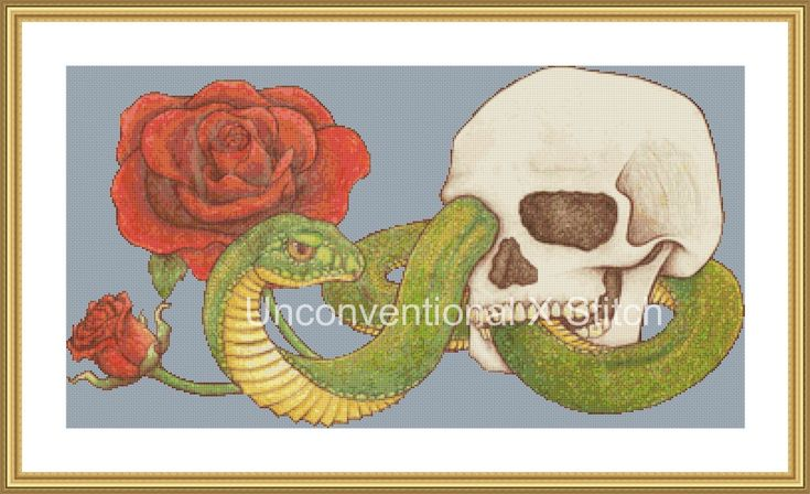 skull rose and snake cross stitch pattern - no background by UnconventionalX on Etsy