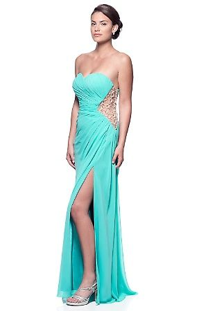 Aqua Sweetheart strapless evening gown with side sequins embossed detail. Features Gathered Sweetheart Bustline High Side Slit Side Embossed Sequins Side Closure Floor Length Occasion Prom Pageant Formal