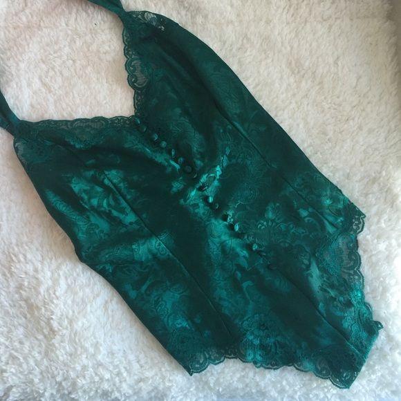 Victoria's Secret bodysuit Vintage Victoria's Secret emerald green bodysuit. Snap closure. Size medium. Zips in the back Victoria's Secret Intimates & Sleepwear Chemises & Slips