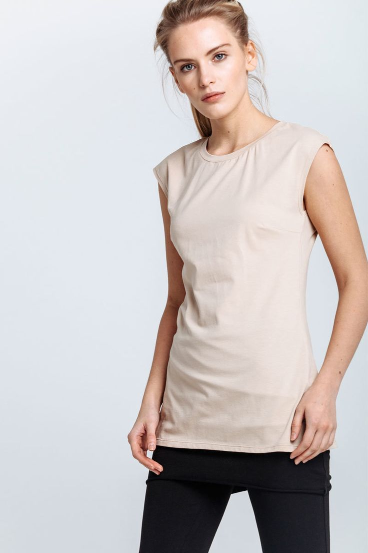 T-shirt made of beige jersey with sleeves covering the shoulders. Pinched tucks accentuate the figure line.   #mariashi #fashion #nofilter #outfit #outfitoftheday #outfits #outfitpost #clothes #fashionista #fashiondesigner #shopping
