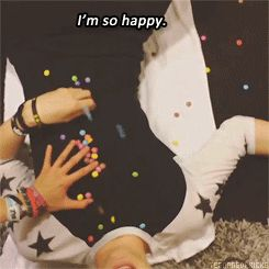"""""""I'm so happy!"""" The fact that he was so freaking happy about the skittles was pretty freaking adorable"""