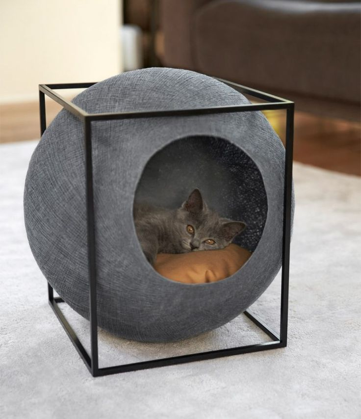 gray ball cat bed