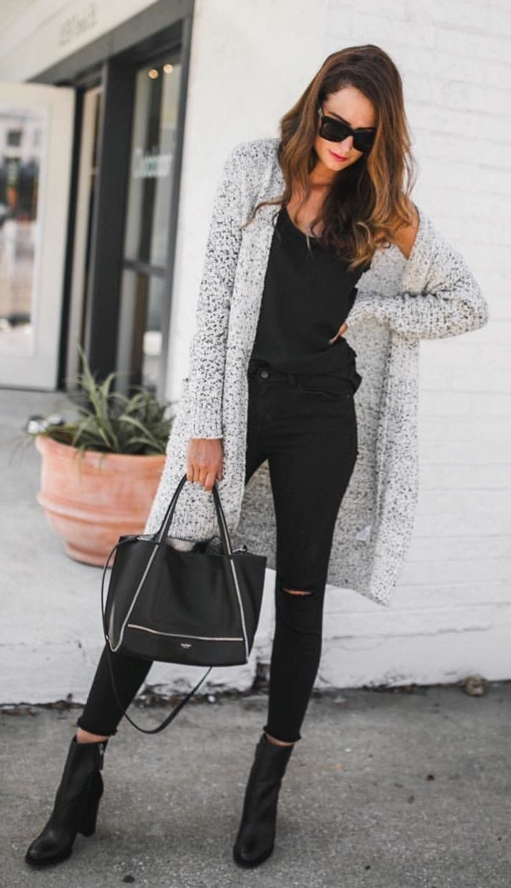 #fall #outfits women's black scoop-neck tank top, distressed black denim jeans, gray open cardigan, black two-way tote bag, and black leather boots #womenoutfits