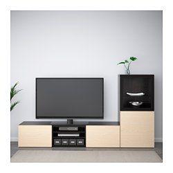 IKEA - BESTÅ, Tv-opbergcombi/vitrinedeuren, grijs gelazuurd walnootpatroon/Lappviken lichtgrijs helder glas, laderail, zachtsluitend, , De lades en de deuren gaan door de zachtsluitende functie zacht en stil dicht.Met de twee lades kan je je spullen eenvoudig opbergen. Op de planken achter de deuren is nog meer opbergruimte.Alle snoeren van de tv en andere apparatuur zijn eenvoudig uit het zicht, maar binnen handbereik te houden, omdat er aan de achterkant van het tv-meubel meerdere...