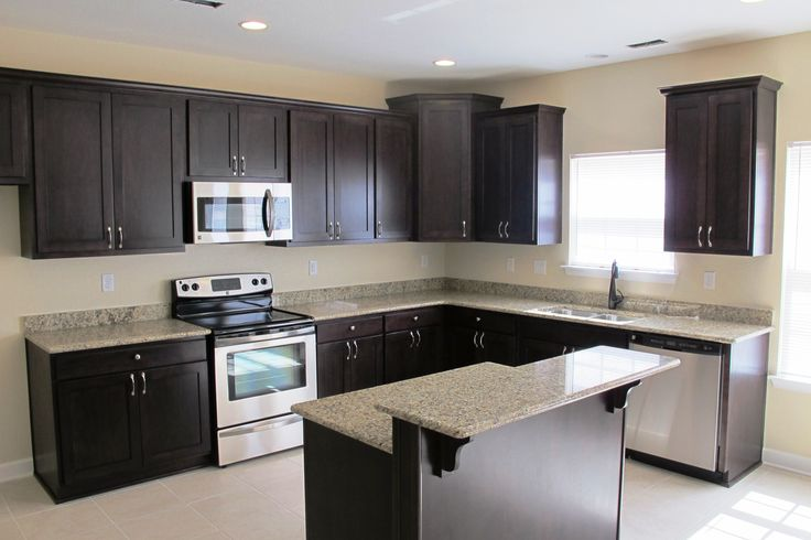 Incredible Hardwood Espresso Kitchen Cabinets With Small Bar Island White Granite Glossy Tops And Great L-shaped Kitchen Cabinetry Set Style In Modern Kitchen Inspiring Decor