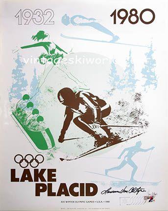 1980 Lake Placid Olympic ski poster