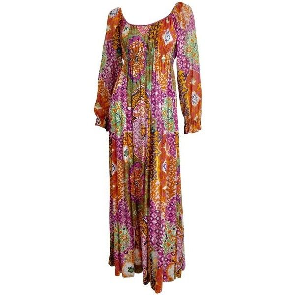 Preowned 1970s Bohemian Maxi Dress (1.585 BRL) ❤ liked on Polyvore featuring dresses, brown, maxi dresses, boho dresses, bohemian dresses, semi sheer maxi dress, cotton dress and vintage boho dress