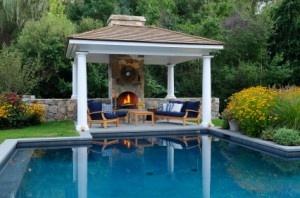 Poolside fireplace