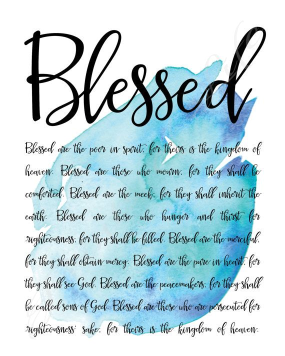 Blessed. Beatitudes. Matthew 5. Instant download by PrintsofLife