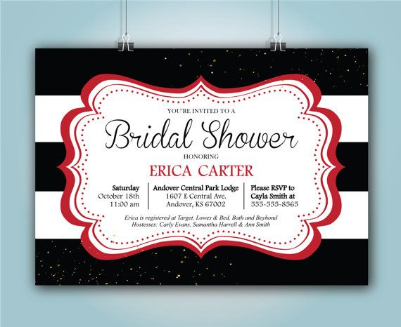 Black and Red Bridal Shower Invitation Erica by SimpleandStunning2
