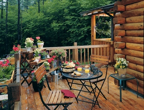 Great Deck On Log Home, With All The Trees Surrounding.