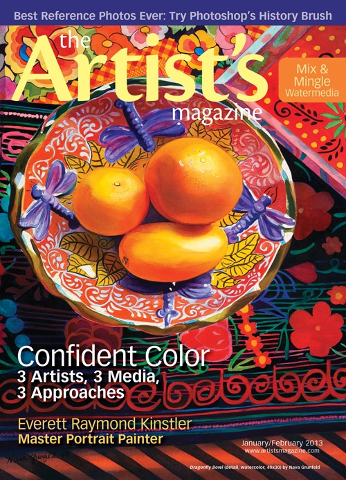 The Jan/Feb issue of The Artist's Magazine, featuring 'Dragonfly Bowl' (detail; watercolor, 40x30) by Nava Grunfeld on the cover. #art #magazines: Artists Network, Contemporary Artists, Artists Magazines, Watercolor Paintings, Navas Grunfeld, Colors Art, Grunfeld Watercolor, Amazing Watercolor, Watercolor Artists