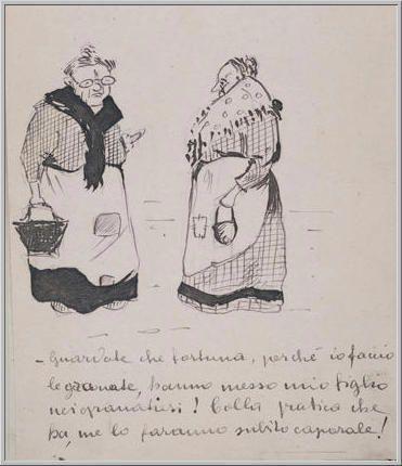Mario Tozzi 1912: Due Anziane. Disegno matita e inchiostro - cm.11x17 - Collezione eredi Brunetti-Laderchi Bologna - Archivio n.409.