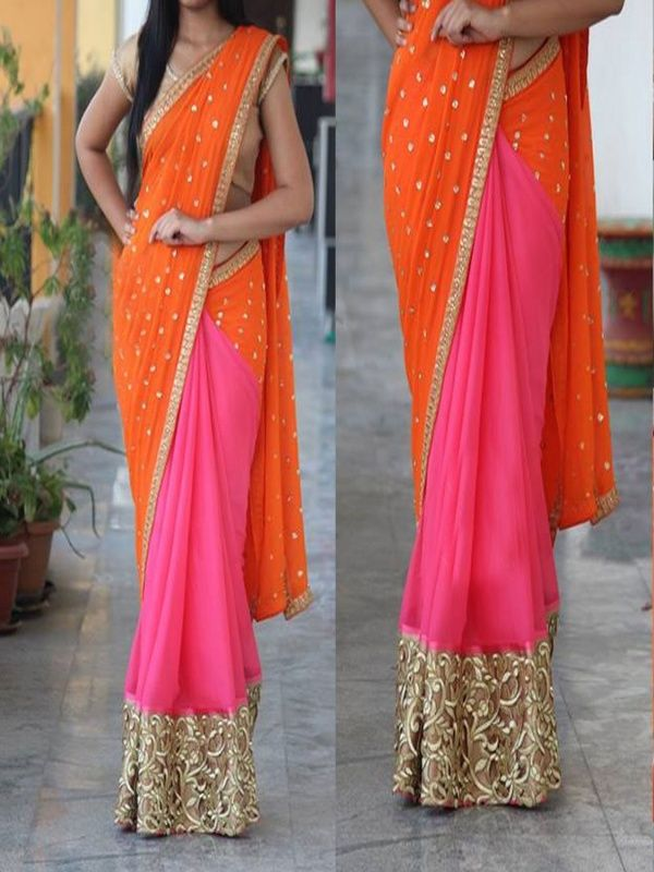 Favorable Orange Georgette Designer Saree Comes With Golden Color Raw Silk Blouse. It Contained The Zari, Embroidery Work Lace Border. The Blouse Which Can be Customized up to bust Size 44
