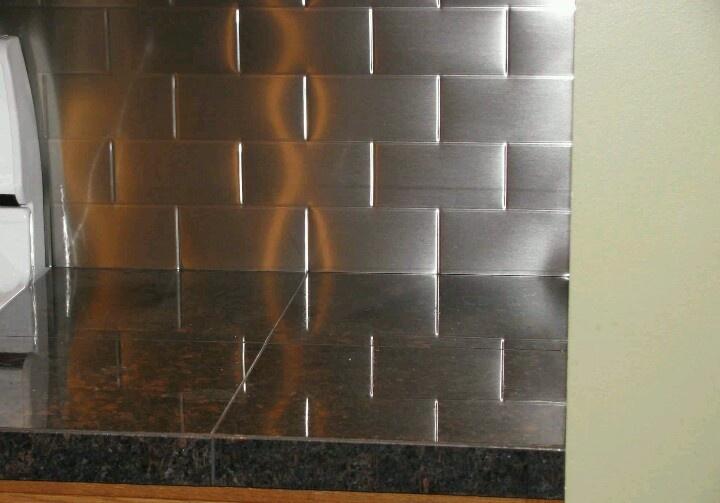 stainless subway tile backsplash kitchen pinterest
