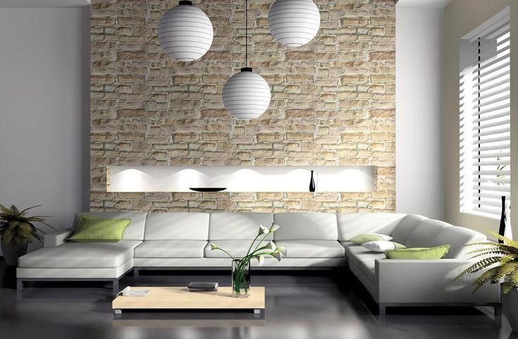 Erstaunlich Wandgestaltung Wohnzimmer Steintapete 1 945×619 Pixel