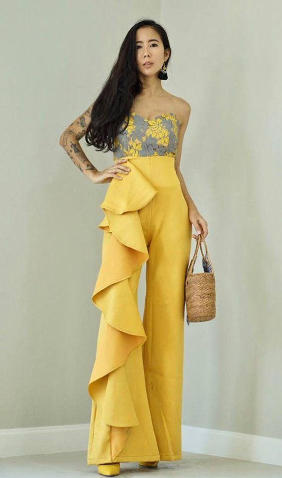 Women's Yellow Mustard High Wiasted Side Ruffle Wide leg Trouser/ vintage 70s Fashion/Cocktail pants